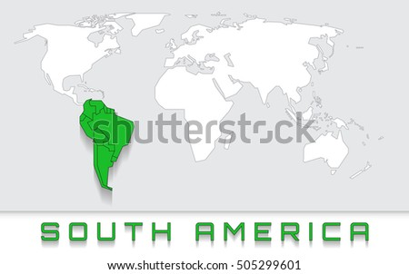 Blank Map World Green Highlighted Continent Stock Vector - Blank of the world