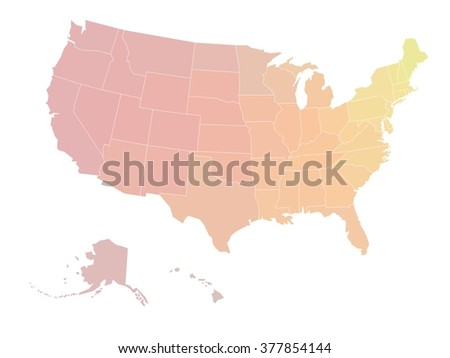 Blank Map United States America Vector Stock Vector - Us map all white red background