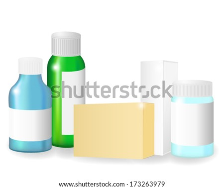 Blank medical bottles and boxes  - stock vector