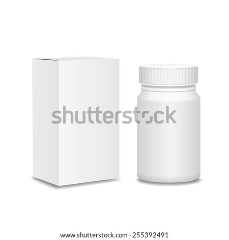 Blank medicine bottle and cardboard packaging, vitamins, examples and templates on white background - stock vector
