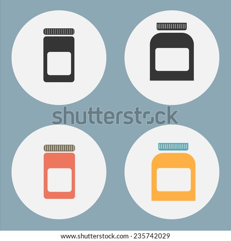 Blank medicine bottle isolated on white background, illustration. - stock vector