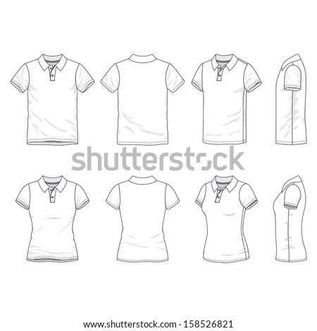 Blank Men's and Women's polo t-shirt in front, back and side views - stock vector