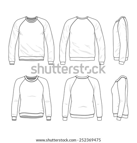 Blank Men's and Women's raglan sweatshirts in front, back and side views. Vector illustration. Isolated on white.  - stock vector