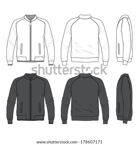 Blank men's bomber jacket with zipper in front, back and side views. Vector illustration. Isolated on white. - stock vector