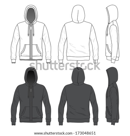 Blank Men's hoodie with zipper in front, back and side views - stock vector