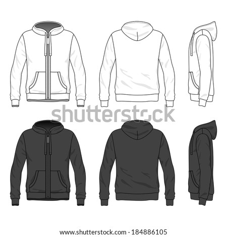 Blank Men's hoodie with zipper in front, back and side views. Vector illustration. Isolated on white. - stock vector