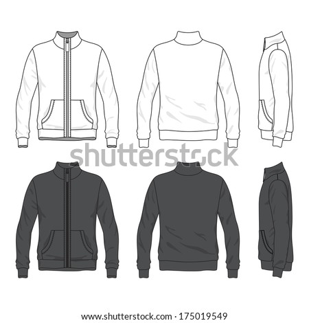 Blank Men's jacket with zipper in front, back and side views. Windbreaker with stand collar. Isolated on white. - stock vector