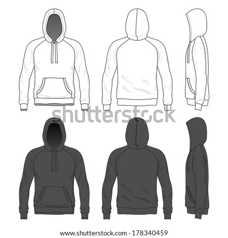Blank Men's raglan hoodie in front, back and side views. Vector illustration. Isolated on white.  - stock vector