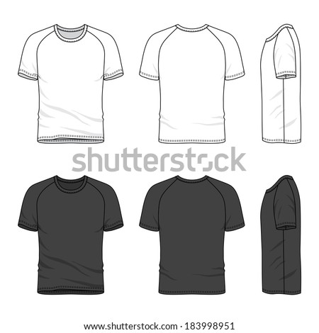 Blank men's raglan sleeve t-shirt in front, back and side views. Vector illustration. Isolated on white. - stock vector