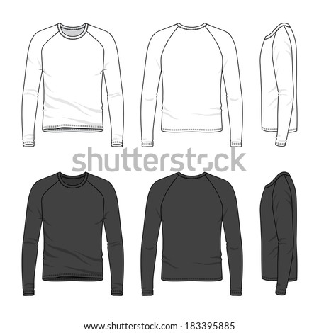 Blank men's raglan sleeve top in front, back and side views. Vector illustration. Isolated on white. - stock vector