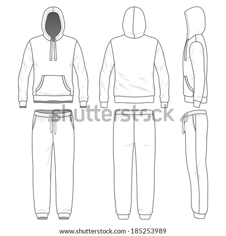 Blank men's sweat suit in front, back and side views. Vector illustration. Isolated on white. - stock vector