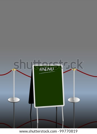 blank menu on sandwich board,free copy space, vector illustration