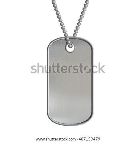 Blank metal tags hanging on a chain. ID military soldier. Isolated on white background. Stock vector illustration.
