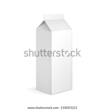 blank milk carton package isolated on white - stock vector