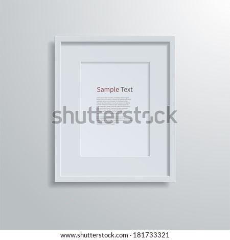 Blank modern A4 frame on a white wall.  - stock vector