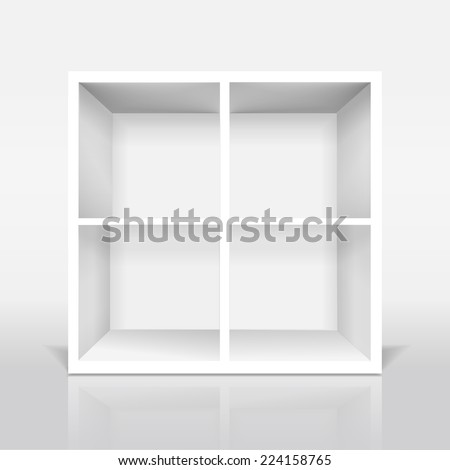 blank modern bookcase isolated on white background - stock vector