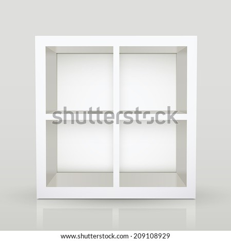blank modern bookcase isolated over grey background - stock vector