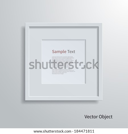 Blank modern square frame on a white wall. - stock vector