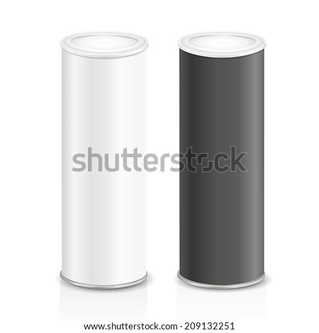 blank narrow cans isolated on white background - stock vector