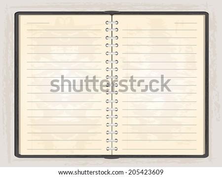 Blank note book open to show two blank pages, grey background.