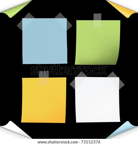 Blank Note Paper, Isolated On Black Background, Vector Illustration - stock vector