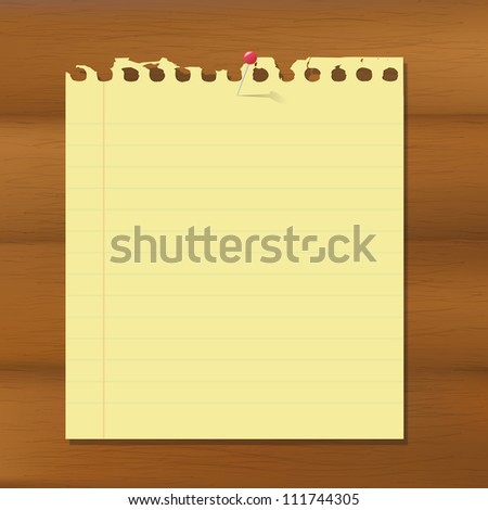 Blank Note Paper On Wooden Brown Background, Vector Illustration - stock vector
