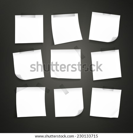 blank note paper set isolated on black background - stock vector