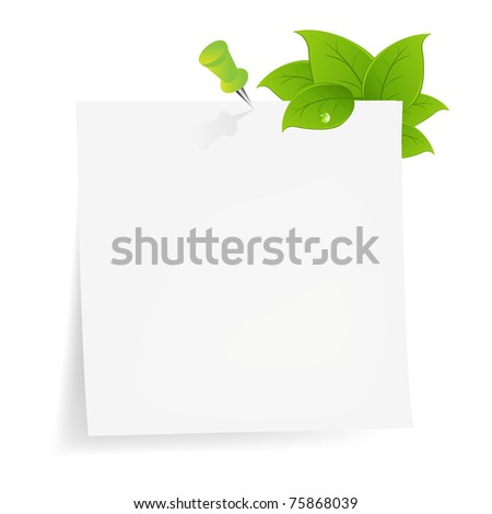 Blank Note Paper With Green Leaf, Isolated On White Background, Vector Illustration - stock vector