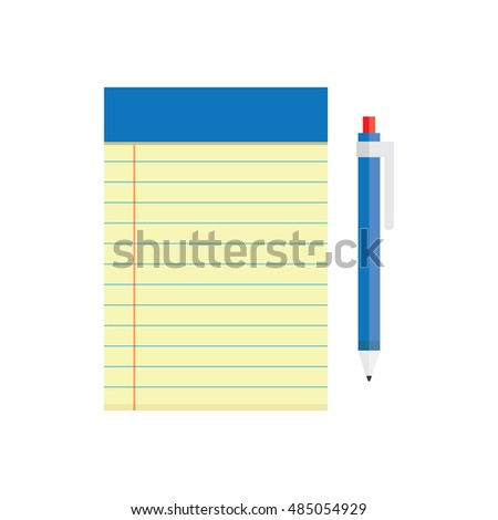 blank notebook and a pen lying near, vector illustration on a white background