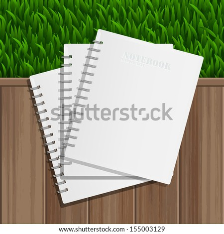 Blank notebook cover on wooden background and green grass - Vector illustration