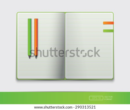 Blank Notebook Template Bookmark Pens Vector Stock Vector