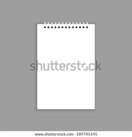Blank notebook with blank place for text and notes. isolated on gray. - stock vector