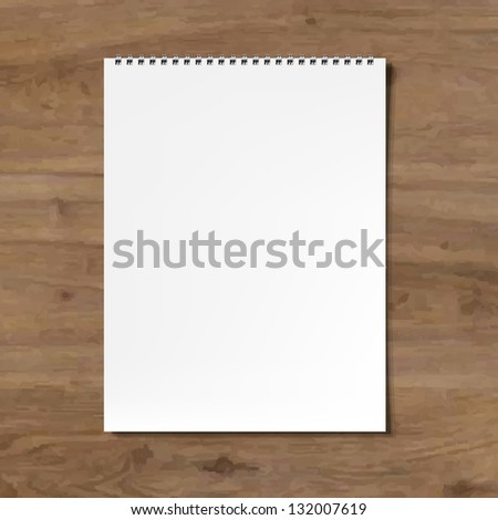 Blank Notebook With Wooden Background With Gradient Mesh, Vector Illustration - stock vector