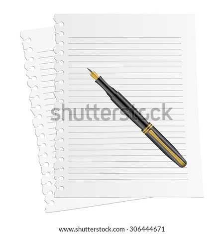 Blank notepad and pen on a white background.
