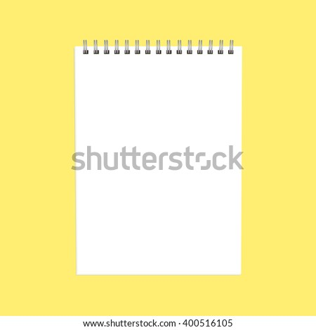Blank notepad on bright background. Business or education concept, mock up. Vector, EPS10