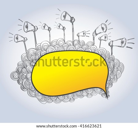 Blank of illustration message designs with loudspeakers icon-vector - stock vector