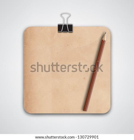 Blank Old Note Paper Vector - stock vector
