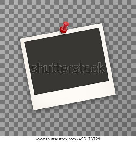Blank old photo with pin needle. Photo retro frames on wall attached with pins. Transparent background  Photo frame  in vintage style. Vector illustration. EPS 10 - stock vector