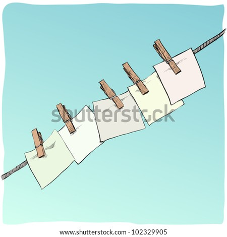 Blank on the rope. Vector illustration - stock vector