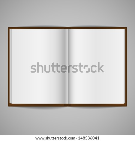 Blank Open Book - Blank book, open to show two blank pages, isolated on a gray background.  EPS10 file with transparency.