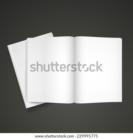 blank open book isolated over black background - stock vector