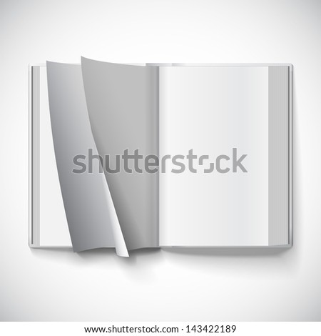 Blank open book, turn the pages, vector illustration with gradient mesh. Isolated object for design and branding - stock vector