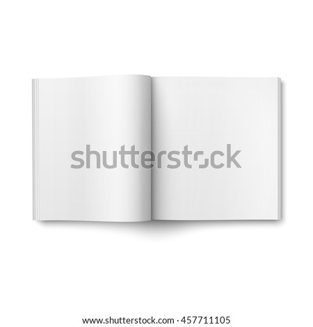 Blank open magazine template on white background. Square format. Ready for your design. Vector illustration.
