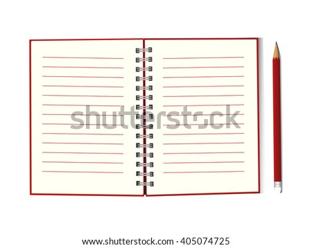 Blank open notebook with red cover and pencil, business or education concept, mockup. Vector, EPS10