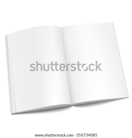 Blank Opened Magazine, Book, Booklet, Brochure. Illustration Isolated On White Background. Mock Up Template Ready For Your Design. Vector EPS10