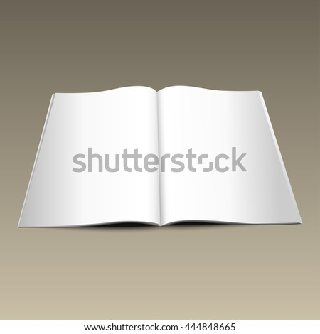 Blank opened magazine mockup template on gold background. Realistic vector EPS10 illustration.