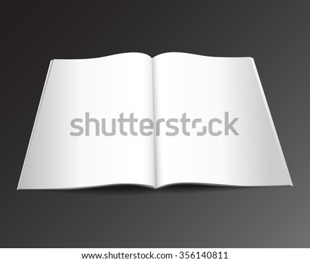 Blank opened magazine mockup template. Realistic vector EPS10 illustration.