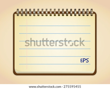 Blank opened notebook  - stock vector
