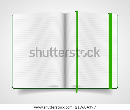 Blank opened notebook with green cover and bookmark isolated on white background. Realistic vector illustration. - stock vector