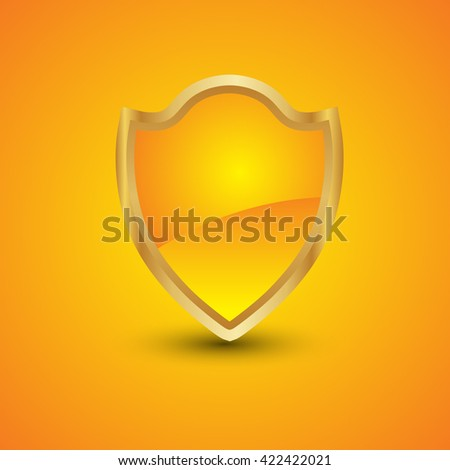 Blank orange gold shield on isolated background - stock vector